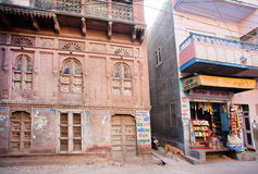Carved walls of historical mansion Haveli royalty free stock photography