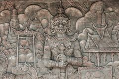 Carved on the walls at Thailand royalty free stock images