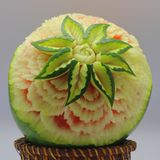 Carved watermelon. Beautiful artistic Carved watermelon fruits Royalty Free Stock Photography