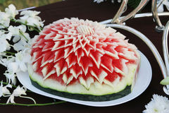 Carved watermelon decoration Royalty Free Stock Image