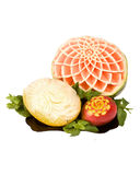 Carved watermelon, melon, mango on a plate Royalty Free Stock Images
