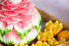 Carved watermelon Royalty Free Stock Photo