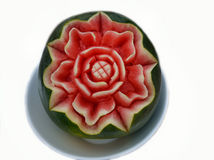 Carved watermlon. Carved watermelon on white background Royalty Free Stock Photos