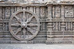 Carved Wheel on Konark Temple Stock Photo