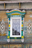 Carved Window In Old Russian Wooden Country House Stock Photography