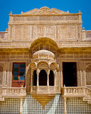 Carved window in Mandir Palace, Jaisalmer, Rajasthan, India stock photos