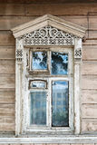Carved window in old National russian wooden  house Royalty Free Stock Photography