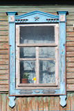 Carved window in old National russian wooden  house Royalty Free Stock Photos