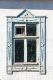 Carved window in old National russian wooden  house Royalty Free Stock Photo
