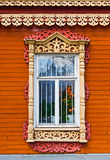 Carved window of wooden house in historical town Kolomna - Russi Stock Photography