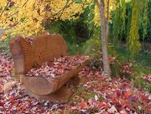 Carved wood bench with colorful leaves under tree Stock Images