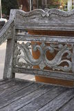 Carved Wood Bench. This pic was taken in Kerrville Texas on New Years Day 2017 Royalty Free Stock Photos