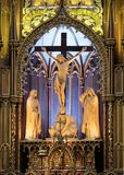 A Carved Wood Crucifixion Sculpture in the Notre Dame Cathedral, Montreal royalty free stock images