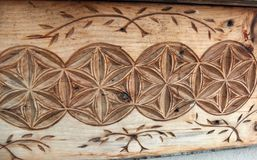 Carved wood detail of French country house. stock photography