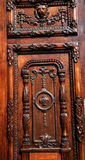 Carved wood door detail Stock Images