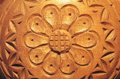 Carved wood flower Stock Photo