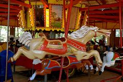 Carved wood horse on a carrousel Stock Photos