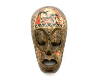 Carved wood mask. With clipping path Stock Photos