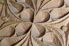 Carved wood panel detail Stock Photo