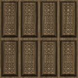 Carved wood panels. Ornate and intricate carved wooden panel wall Stock Photo