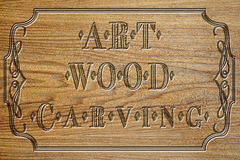 Carved wood plate of art carving Royalty Free Stock Images