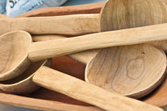 Carved wood spoons Stock Image