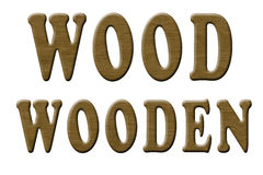 Carved Wood Text. The words wood and wooden carved and rendered actually in wood. Grain text effect with shadows and highlights Royalty Free Stock Image