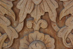 Carved wood wall close Stock Images