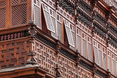 Carved wooden balcony Royalty Free Stock Images