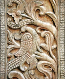 Carved wooden bird detail Stock Photography