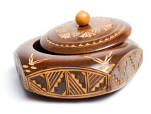 Carved wooden box Stock Photos