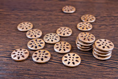 Carved wooden buttons Royalty Free Stock Photos