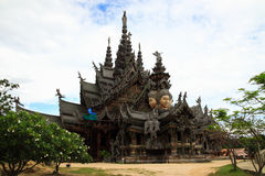 Carved wooden castle. Sanctuary of Truth. Chonburi Royalty Free Stock Photography