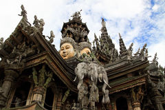 Carved wooden castle. Sanctuary of Truth. Chonburi. thailand Royalty Free Stock Images