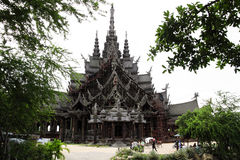 Carved wooden castle. Sanctuary of Truth. Chonburi. Thailand Royalty Free Stock Photography
