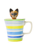 Carved wooden cat in the colorful glass ceramic. Royalty Free Stock Photography