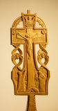 Carved wooden cross. Stock Photos