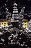 Carved wooden details on a Nepalese temple door Stock Photos