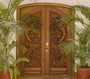 Carved wooden door Stock Photo