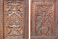 Carved wooden door Royalty Free Stock Image