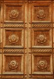 Carved Wooden Door in Florence, Italy Royalty Free Stock Photos