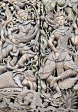Carved wooden door Myanmar Stock Photo