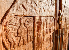 Carved wooden door, Royal BC Museum, Victoria, Canada Stock Photo