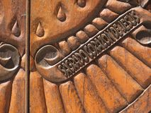Doors, Chimayo, New Mexico. Carved wooden doors outside religious shrine in Chimayo, New Mexico in the Sangre de Cristo mountains royalty free stock photos