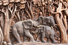 Carved wooden elephants Royalty Free Stock Photography