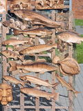 Carved wooden fish. For street sale, Lithuania Stock Photos