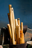 Carved wooden flutes Royalty Free Stock Photos