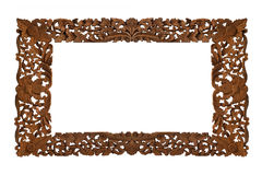 Carved wooden frame. On white background Stock Photos