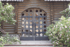 Carved wooden gate Stock Photo