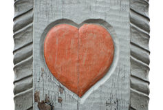 A carved wooden heart Stock Photography